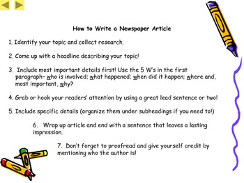 Expository or Informative Writing Lesson- Newspaper Writing