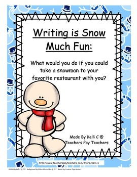 Taking A Snowman to your Favorite Restaurant- A Narrative Writing Activity