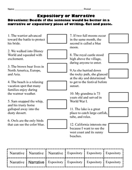 Expository versus Narrative Differentiated Worksheet Pack