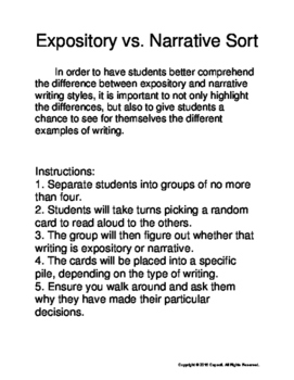 Expository vs. Narrative Sort