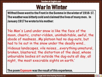 Exposure by Wilfred Owen - Powerpoint and worksheets teaching resources