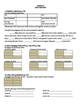 Expresate 1 All Chapter Review Sheet Bundle