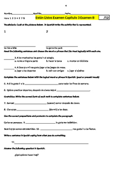 Expresate 1 Capítulo 3 Are You Ready Quiz and Itemized Worksheet to match