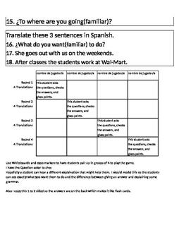 Expresate 1 Capítulo 3 Translate Sentences Game