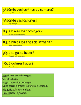 Ask Answer Trade Speaking Activity gustar querer ir Expesate 1 Capítulo 4