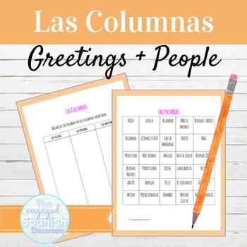 "Spanish Greetings and People: ""Las Columnas"" Vocabulary Organization Activity"
