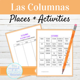 Spanish Infinitives and Locations Matching Activity Las Columnas