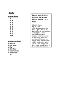 Expresate 1 Chapter 3 Vocabulary Recognition & Listening Assessment Quiz