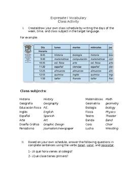 Expresate 1 Class Schedule Activity
