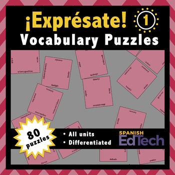 Exprésate 1 Spanish Vocabulary Puzzles (Entire Textbook)