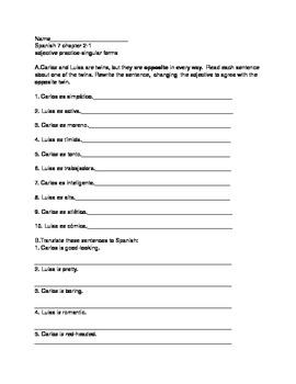 Spanish Beginning Adjective Agreement Worksheet/Practice