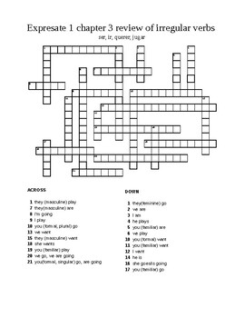 Spanish Expresate 1 chapter 3 review of irregular verbs puzzle