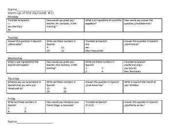 Expresate 1 chapters 1-5  TEN weeks of daily warm ups, reviews, bell worksheets