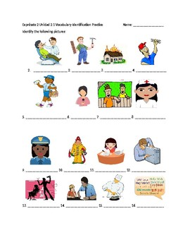 Exprésate 2 Chapter 2 Vocabulary  1 Identification /Quiz