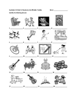 Exprésate 2 Chapter 5 Vocabulary 2 Identification Practice/Quiz