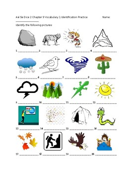 Exprésate 2 Chapter 9 Vocabulary 1 Identification Practice/Quiz