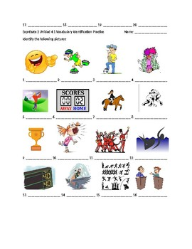 Exprésate 2 Chapter 4 Vocabulary 1 Identification Practice/Quiz