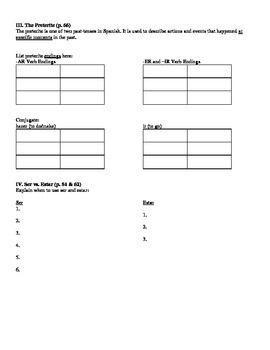 Expresate (Book 2) Ch. 2 Test Review Worksheet