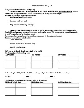 Expresate (Book 2) Ch. 3 Test Review Worksheet