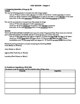 Expresate (Book 2) Ch. 9 Test Review Worksheet