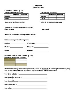 Expresate (Book 1) Ch. 4 Test Review Worksheet