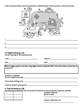 Expresate (Book 1) Ch. 5 Test Review Worksheet