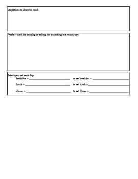 Expresate (Book 1) Ch. 6 Test Review Worksheet
