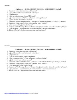 Exprésate I - Chapter 6A - Food Conversation Practice Questions