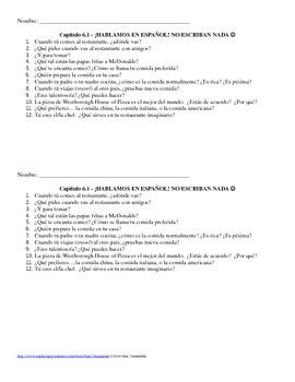 Exprésate I - Chapter 6A - Food Conversation Practice Questions