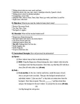 Exprésate I Spanish I lesson plans and materials – Chapter 4: La vida escolar