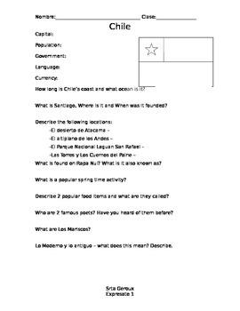 Expresate Level 1 Chile Worksheet