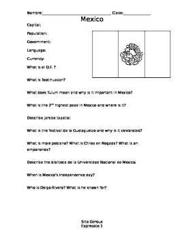 Expresate Level 1 Mexico Worksheet