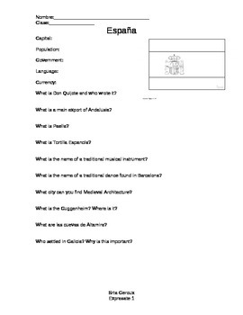 Expresate Level 1 Spain Worksheet