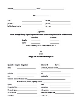 Expresate Spanish 1 Chapter Organizer Chapter 2