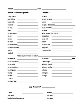 Expresate Spanish 1 Chapter Organizer Chapter 3