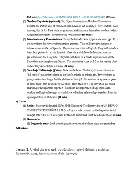 Expresate Spanish II lesson plans and materials - Chapter 1