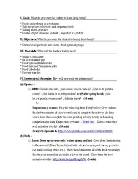 Expresate Spanish II lesson plans and materials - Chapter 7 Buen Provecho