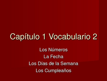 Expresate Spanish Level 1 Chapter 1.2 Vocabulary Powerpoint Vocab.