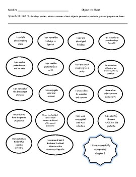 Exprésate ch 9 objective sheet