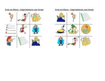 Expresiones con tener Spanish verb Tic Tac Toe