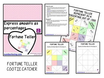 Express an Amount as Percentage (Fortune Teller/Cootie Catcher)