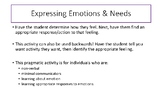 Expressing Emotions & Needs (Communication board or Pragma