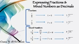 Expressing Fractions and Mixed Numbers to Decimal Numbers