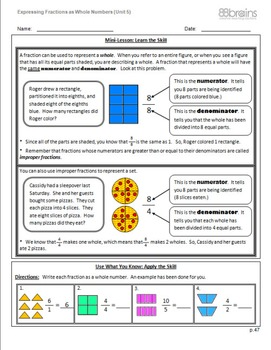 Expressing Fractions as Whole & Whole Numbers as Fractions pgs. 47-50 (CCSS)