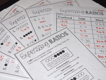 Expressing Ratios Classroom Anchor Poster & 5 Worksheets CCSS 6.RP.A.1