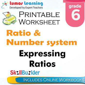 Expressing Ratios Printable Worksheet, Grade 6
