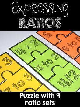 Expressing Ratios Puzzles - Nine Sets -  CCSS 6.RP.A.1
