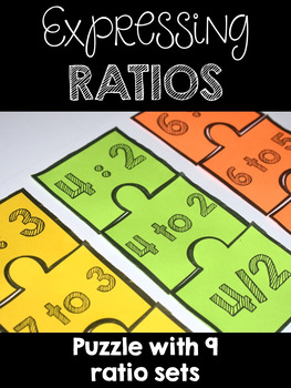 Expressing Ratios Puzzles - Nine Sets -  CCSS 6.RP.A.1