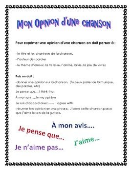 Expressing an opinion in French about a song Ontario French Curriculum