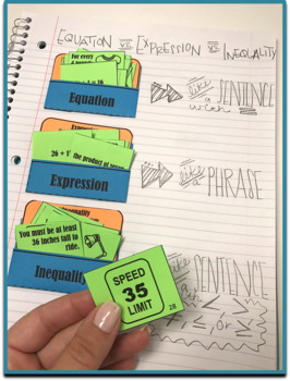 Expression, Equation, or Inequality Card Sort